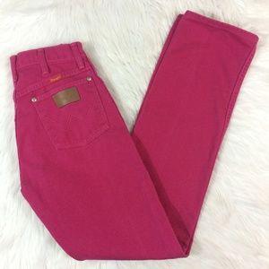Wrangler Fuchsia Hot Pink High Waist Mom Jeans